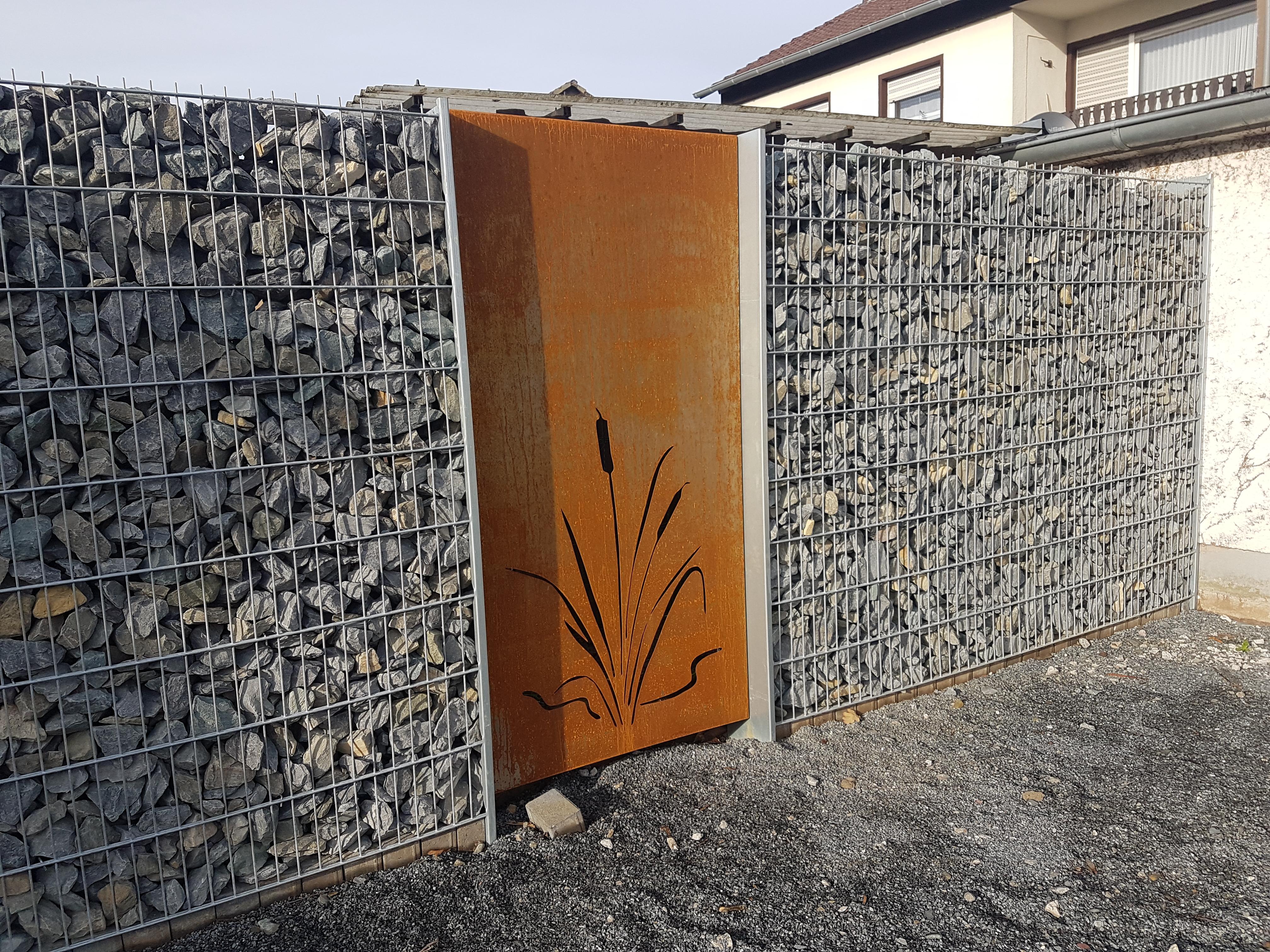 Hinken design gabione steinkorb sichtschutz steinzaun for Rostfiguren tiere