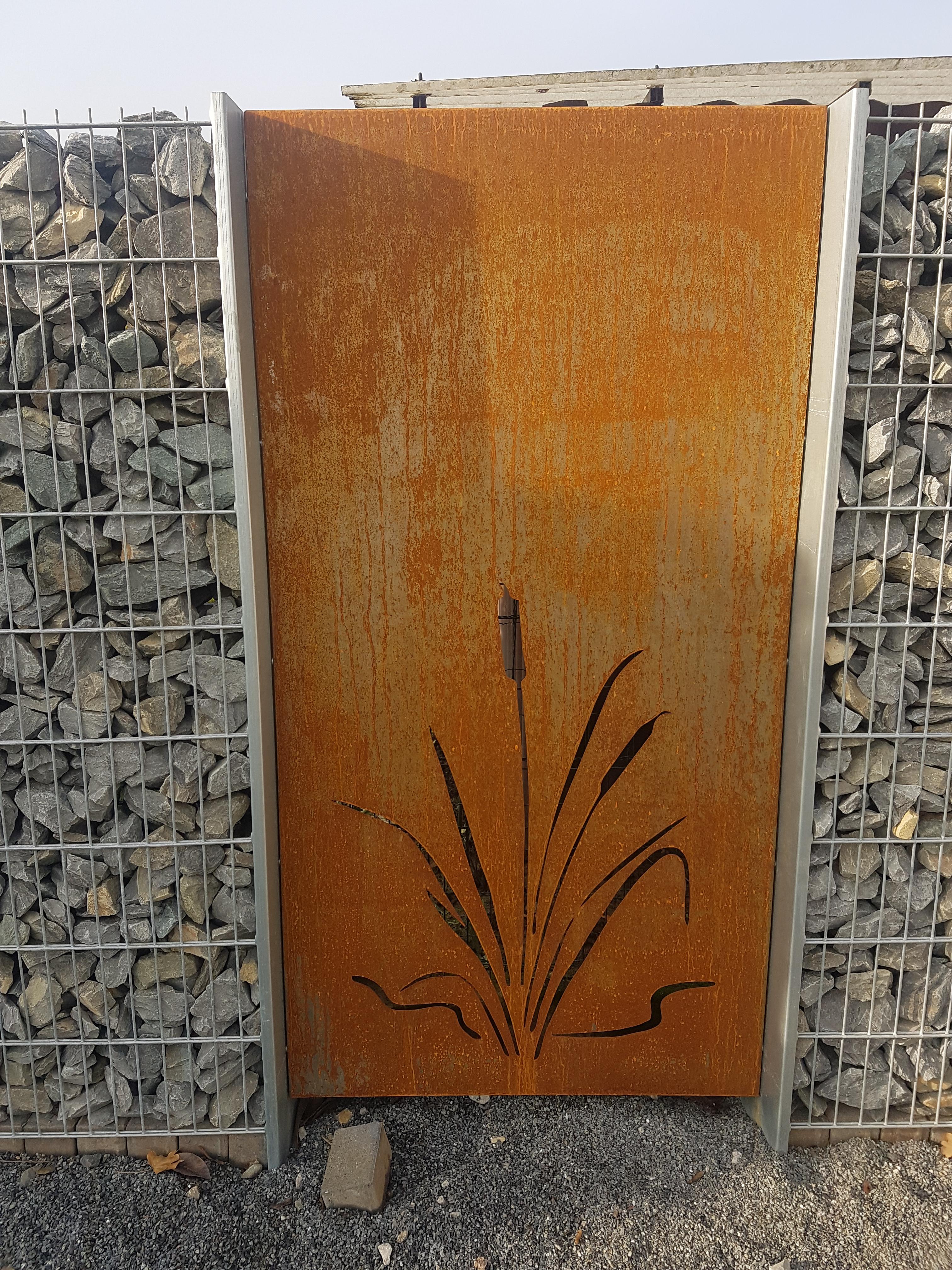 Hinken design sichtschutz sichtschutzwand schmuckblech gabione 183cm edelrost rost - Sichtschutzwand metall ...