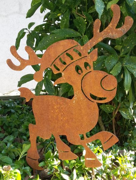 Hinken design gartenstecker elch weihnachten rost for Rostfiguren tiere